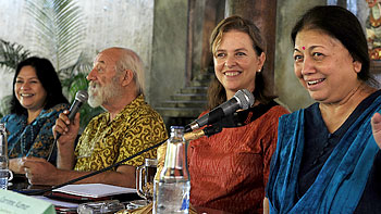 From right to left: Corinne Kumar, International Coordinator, Courts of Women; Caitlin Wiesen, Regional HIV/AIDS Practice Leader & Programme Coordinator, Asia & Pacific, UNDP; Bob Moukhouse of Yakeba (an NGO for HIV and Human Rights based in Bali); and Nelia Sancho, Regional Coordinator, Asian Women's Human Rights Council (AWHRC) at a press conference in Bali, Indonesia on 4 August.