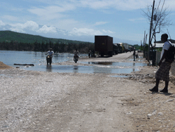 Flooding of the road between Dominican Republic and Haiti