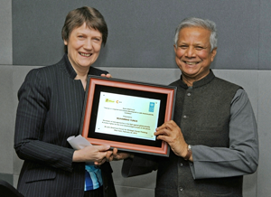 Helen Clark and Muhammad Yunus